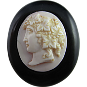 Victorian Hand Carved Conch Shell Cameo Whitby Jet Pendant Brooch 1880s