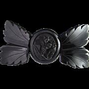 Bow Rose Laurel Leaves Whitby Jet Victorian 19th Century Bangle Bracelet Mourning 1880s.
