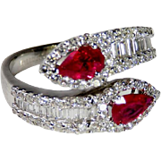 Ruby Engagement Ring Unique Color Engagement Ring Toi et Moi Engagement 18K White Gold Ring ..