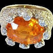 Huge 11.29 tcw Orange Mandarin Garnet Diamond Ring 18K White Gold Cocktail Ring Fanta ...