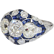 Finest Art Deco 1920s Platinum Diamond Sapphire Engagement Ring Wedding Ring Dress Ring Band .