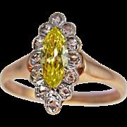 Canary Diamond Engagement Ring Yellow Diamond Engagement Ring Rose Cut Diamond Engagement Ring
