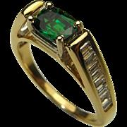 Tsavorite Diamond Ring 14K Gold Engagement Ring Wedding Ring Color Engagement Dress Ring ...