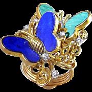 Lapis Diamond Malachite 14K Ring Butterfly Butterflies Large Ring Mid Century Modernist ...