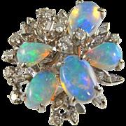 Modernist Opal Ring Hand Made Custom Estate Opal Diamond Gold Ring 18K white Gold Ring ...