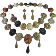 Museum Quality 1870s Victorian Lava Cameo Parure Necklace Bracelet and Earrings in Fine Silver