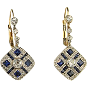 Antique Sapphire Diamond Earrings 3.26 tcw Edwardian Platinum Diamond Earrings and Gold Diamon