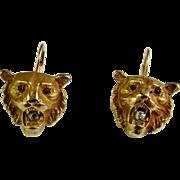 Superb High Victorian Antique 12K Gold Diamond Garnet Lion Tiger Head Hand Made Drop Earrings