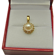 Dainty Vintage Diamond and Pearl 14K Gold Wedding Dress Gift Timeless Classic Pendant