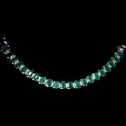 Luxurious Timeless Classic Stunning Green Natural Emerald Fine White Diamond Tennis Line ...