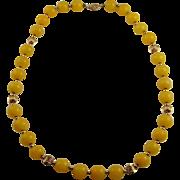 Fluorite Necklace Fluorite Beads Yellow Necklace 14K Gold Beads Beaded Necklace 1950s Necklace