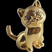 Cat Brooch Cat Jewelry Animal Jewelry Panther Jewelry Retro Brooch Handmade Brooch Sapphire ..