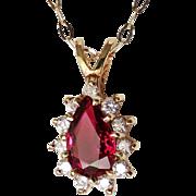 Dainty Vivid Gem Ruby Diamond Pendant Necklace Ruby Pendant 1970s Jewelry Wedding Jewelry Ruby