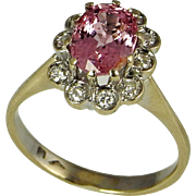 Pink Sapphire Ring Padparadscha Pink Peach Sapphire Engagement Ring Cluster Engagement Ring ..