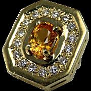 Yellow Sapphire Pendant Sapphire Diamond Pendant Luxury Jewelry 14K Gold Pendant Minimalist ..
