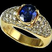 Deep Ceylon Blue Sapphire Diamond Engagement Ring Sapphire Diamond Ring Sapphire Diamond Band