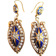 Finest Antique Victorian Blue Enamel Pearl and Diamond Earrings 18K Gold French circa 1850s