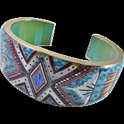 14K Turquoise Bangle Bracelet Inlay Opal Multistone Multigem Kachina Micromosaic Micro Mosaic