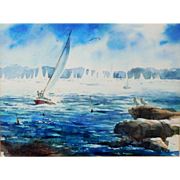 Marblehead Massachusetts Watercolor Painting, Maritime Sailing Boats Signed IAWS