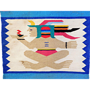 Mexican Textile Wall Hanging, Vintage Hand Woven, Mounted on Wooden Rod and Ready to Hang