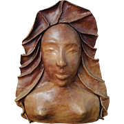 Leather Art Sculpture, Woman's Face in Relief, Caribbean (Martinique) Wall Decor