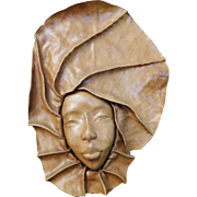 Leather Art Sculpture, Woman's Face in Relief, Caribbean (Martinique) Wall Decor #2