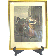 SALE Antique Cries of London Plate 13 Selling Turnips - Framed Etching, Hand Colored Plate ...