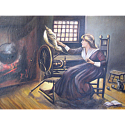 Woman with Spinning Wheel, Large Early American Oil Painting Folk Art Influence