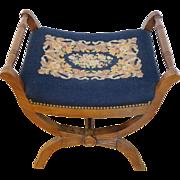 Needlepoint Vanity Bench, Navy Blue Floral Design, Spindle Details