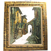 SALE The Apex of Day, Spanish Street Scene, Oil on Canvas