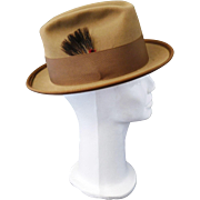 Vintage Bradford Ltd Bradford Western Fedora Super Hand Creased Brown 6 7/8 Feather