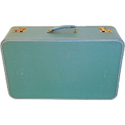 Robins Egg Blue Retro Suitcase with Handle and Brass Finish Clasps