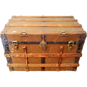 SOLD Brown Steamer Trunk with Leather Straps, Antique Storage Chest, Flat Top Wood