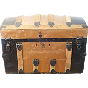 Victorian Steamer Trunk Dome Top, Copper Finish Antique Storage, Treasure Chest, Vintage Trave