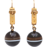 Whimsical and Wearable Victorian Banded Agate Buckle Earrings