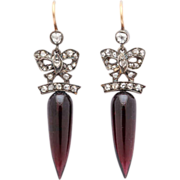 Red Wine Victorian Garnet and Diamond Earrings