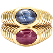 Dramatic 18kt Gold Ruby and Sapphire Ring