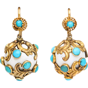 Eternal Summer in Victorian 15kt Gold, White Enamel and Turquoise Earrings