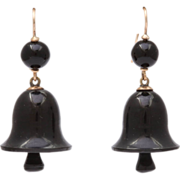 Ring in Victorian Whitby Jet Bell Earrings