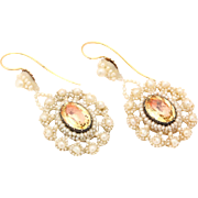 Victorian Natural Pearl and Citrine Earrings
