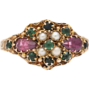 1922 Rare Suffragette Colors Violet Ruby Emerald Gold Ring