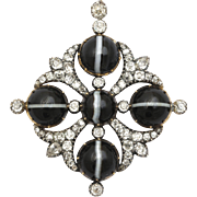 Hypnotic Diamond and Banded Agate Victorian Pendant