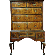 ANITQUE ENGLISH QUEEN ANNE OAK AND WALNUT CHEST ON STAND