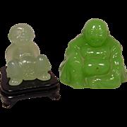 2 Peking Glass Seated Figures