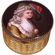 Antique Painting on Porcelain Jewelry Box