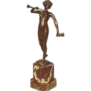Antique Nude Bronze Lady With Cup & Horn Signed Keck