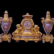 Beautiful Antique French Gilt Bronze 3 Piece Clock Set