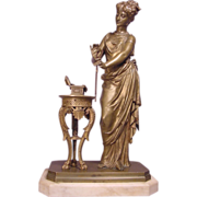 Antique Russian Bronze Lady With Jewelry Signed Trodoux