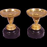 Rare Pair Antique Gilt Bronze Cherub Bowls Marble Base