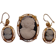 Rare Hard Stone 14k Cameo Pendant/Brooch Earrings Set